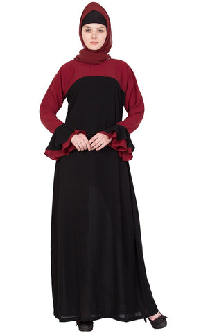 Soft Nida Doble shade extended sleeves abaya dress-Final sale