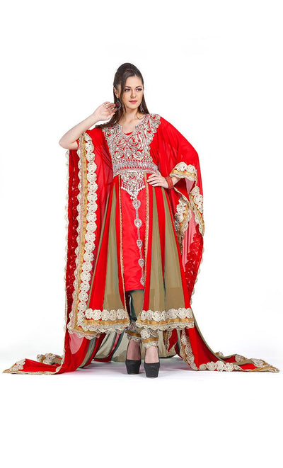 Red Color Exclusive Kaftans-Georgette Designer Kaftan-Final Sale_As Pictured_Front_View