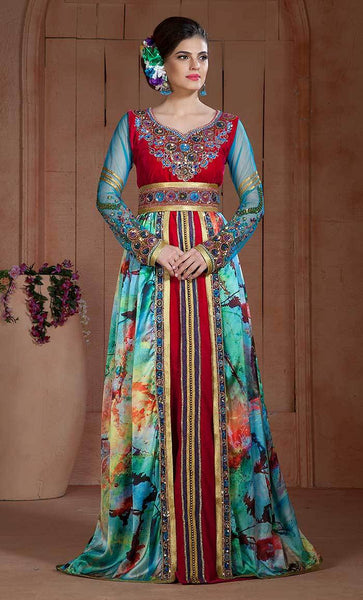 Party wear Moroccan Long Sleeve Dress Kaftan-final sale
