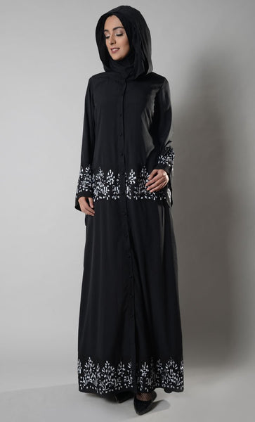 Mimi Hooded Button Down Abaya_Black_Front_View