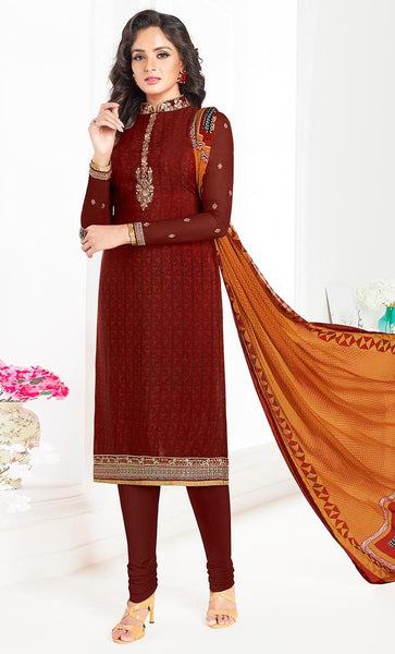 Maroon Crepe Dress salwar kameez-Final sale