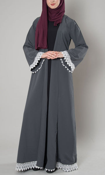 Lace Trim Duster Shrug - Dark Grey_As Pictured(Out Of Stock)_Front_View