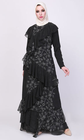 The mini polka ruffle abaya