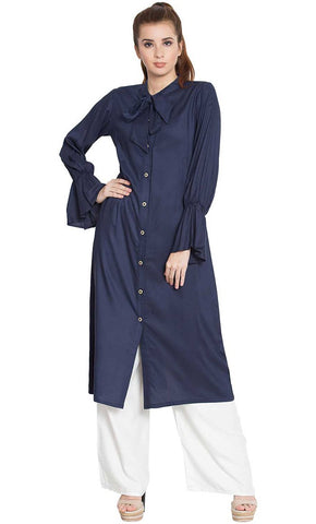Manah bell sleeves long kurti-Final sale