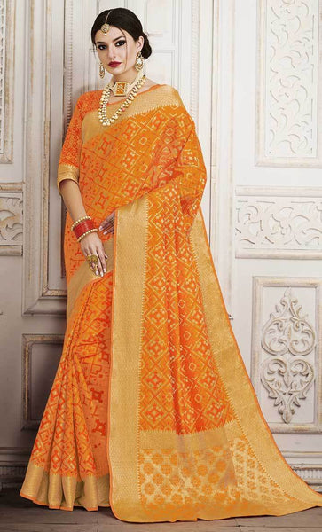 Jacquard Woven Design Orange Saree-Final sale item_As Pictured_Front_View