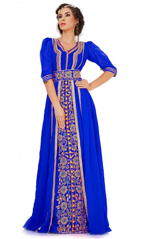 Attractive Dark Blue Jacket Style Moroccan Wedding Caftan-Final Sale_As Pictured_Front_View