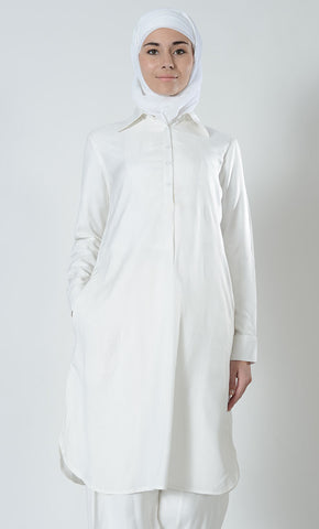 Basic Cotton Umrah Hajj Tunic_White_Front_View