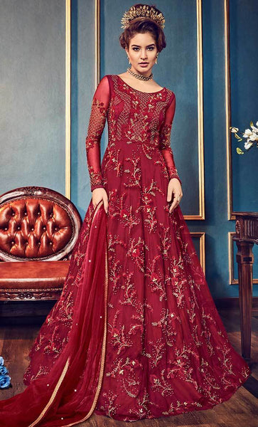Elegant Floral Cording Work With Jari & Crystal salwar kameez-Final sale