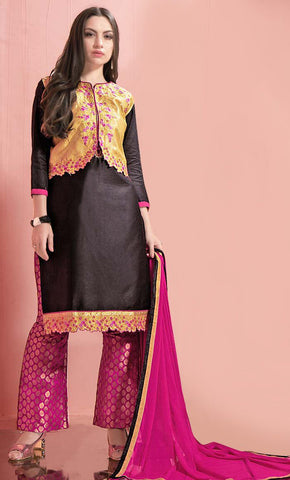 Embellished Contrast Floral embroidered With Jari salwar Kameez-Final sale_As Pictured_Front_View