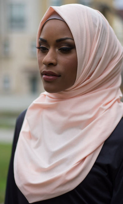 Solid Jersey Hijab - Peach_Peach_Front_View