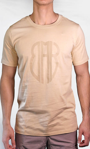 Men's Beige Tee - Large Logo - Final Sale Item_As Pictured_Front_View