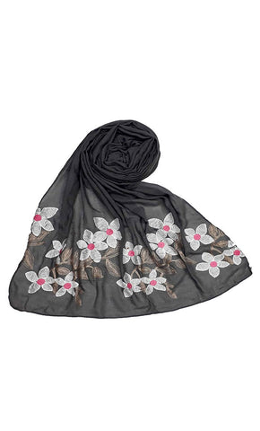 Grey floral Ari work hijab-final sale