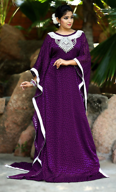 Purple Color Designer Self Printed Kaftan Farasha-One Size-Final Sale_As Pictured_Front_View