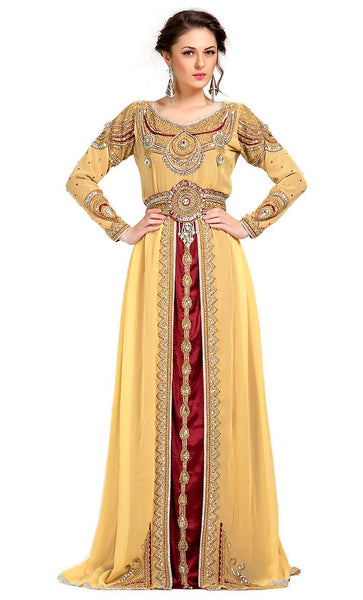 Contemporary Rich Beige Embroidered Moroccan Wedding Kaftan-Final Sale_As Pictured_Front_View