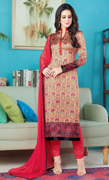Floral print satin salwar kameez with chiffon dupatta-Sizes XS-3XL_As Pictured_Front_View