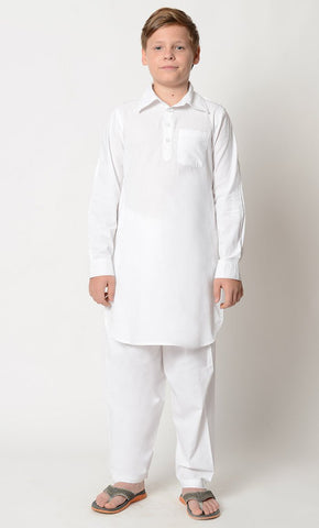 Basic Cotton everyday prayer Kurta pajama set_White_Front_View