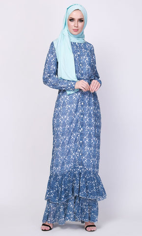 Indigo Damask Printed Button up Abaya