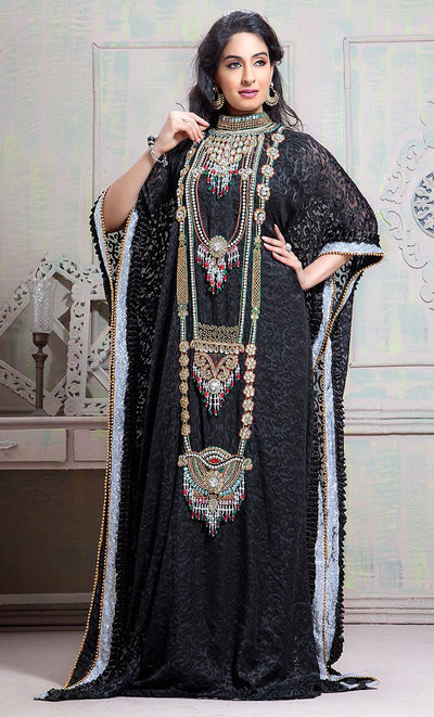 Exclusive Self Printed Black All Over Handwork Kaftan-Final Sale_As Pictured_Front_View