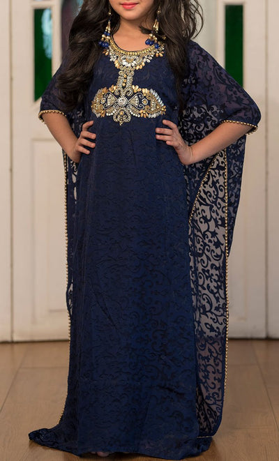 Dark Blue Hand Beaded Kids Kaftan- Final Sale_Front_View