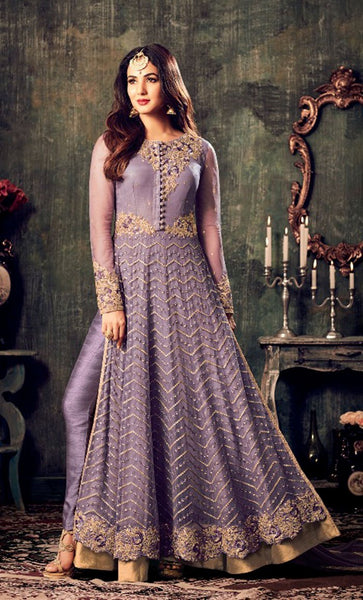 Gold embroidered Long Suit_Purple_Front_View