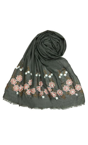 Dark Grey floral embroidered hijab-final sale