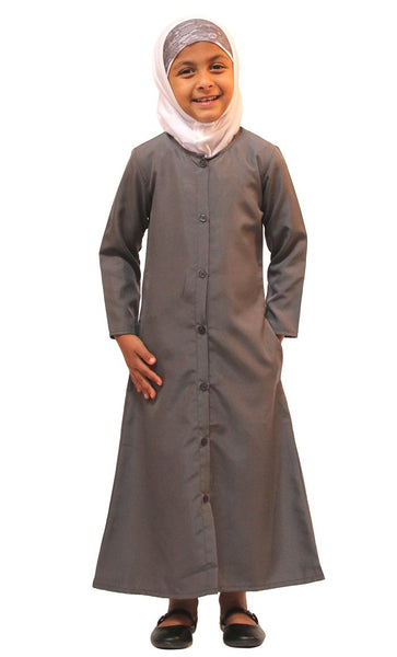 Girls Kashibo Button Down Uniform Abaya_Dark Grey_Front_View