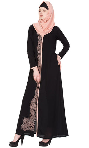 Front open embroidered Nida abaya-Final sale
