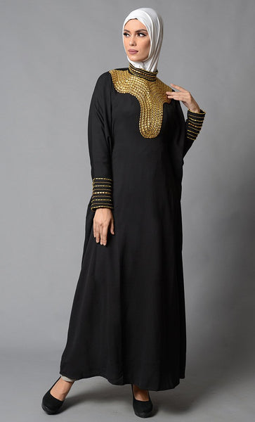 Black Moss Crepe Kaftan With Accent Gold Embroidery with Trim Details_Black_Front_View