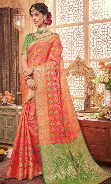 Contrast jacquard woven with jari saree-Final sale_As Pictured_Front_View