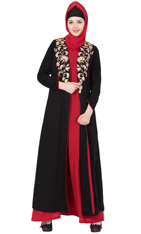 Premium A line Nida abaya with embroidered jacket-Final sale
