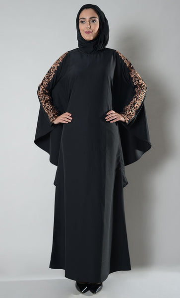 Copper Embroidered Batwing Kaftan_As Pictured_Front_View