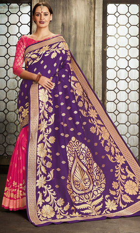 Purple & Pink Traditional Allover Jacquard Weaving Design Saree - Final Sale Item_Front_View