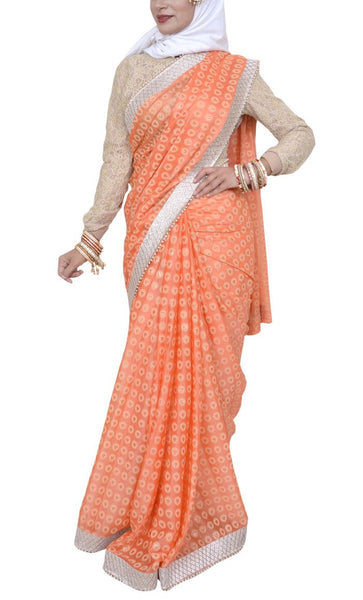 Pakeezah Everyday Orange Georgette Saree - Final Sale Item_As pictured_Front_View