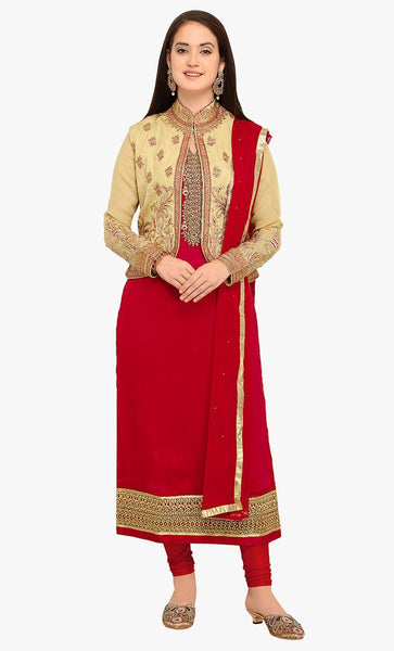 Floral embroidered A line salwar kameez dress-Final sale