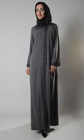 Melanie Front Open Snap Abaya Duster - EastEssence.com