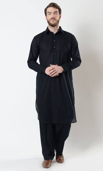 Mens Basic Cotton Shalwar Kameez Set - EastEssence.com