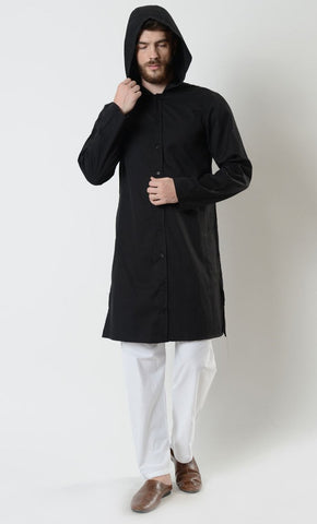 Mens Cotton Button Closure Hooded Tunic - EastEssence.com