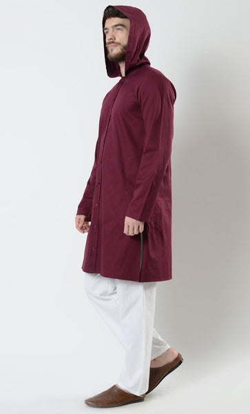 Mens Cotton Button down front Hooded Tunic - EastEssence.com