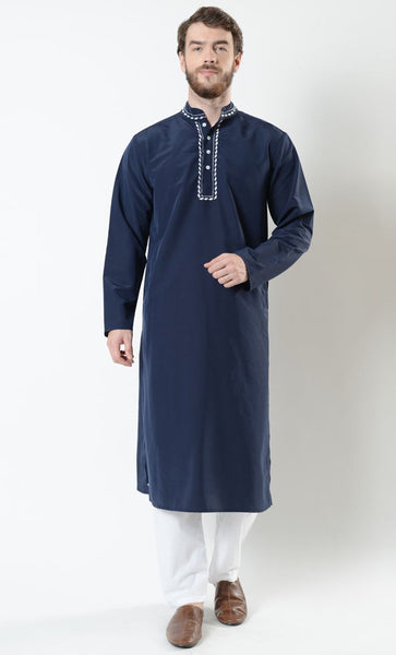 Men's Embroidered Button Kurta and Pant Set - EastEssence.com