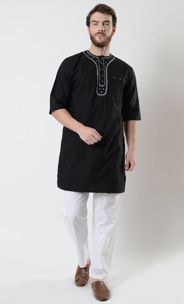 Men's Embroidered Short Sleeve Tunic - EastEssence.com
