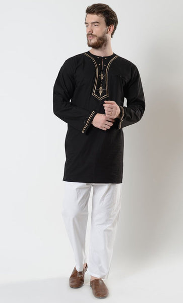 Mens Gold Embroidered Tunic - EastEssence.com