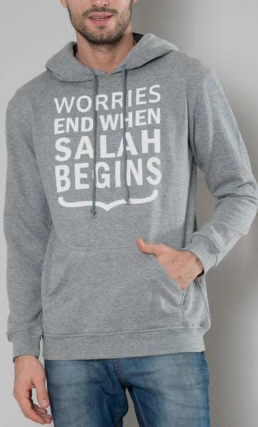 Mens Hoodie Worries End When Salah Begins - EastEssence.com