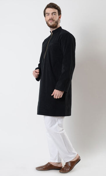 Mens Zipper Black Corduroy Tunic - EastEssence.com