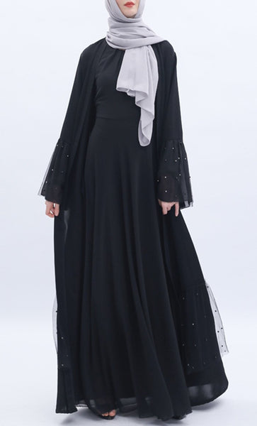 Mesh And Pearl Shrug - Black - *Size Up* - EastEssence.com