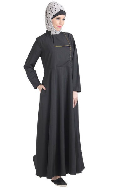 Metallic Flapover Zipper Detail Flared Abaya Dress - EastEssence.com