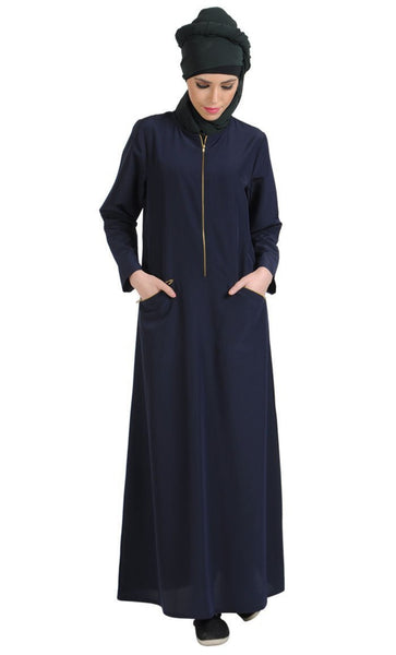 Metallic zipper detail basic muslimah abaya dress - EastEssence.com