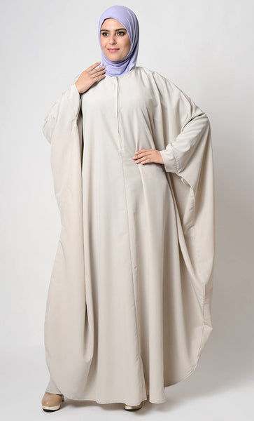 Metallic Zipper Detail Kimono Style Abaya Dress. - EastEssence.com