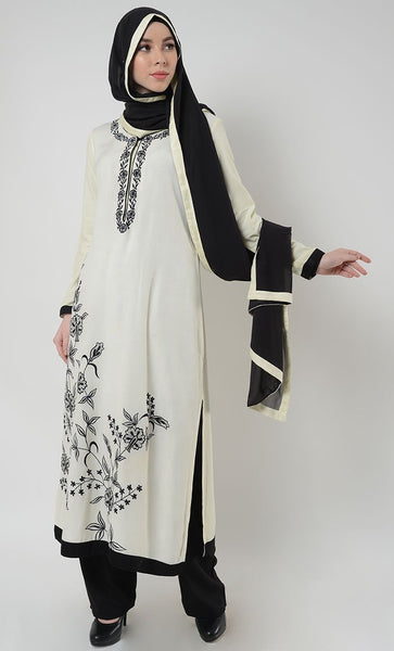 Mia Embroidered Shalwar Kameez Set - White - EastEssence.com