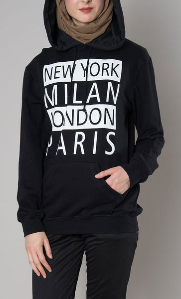 Milan NY Paris London Hoodie - EastEssence.com