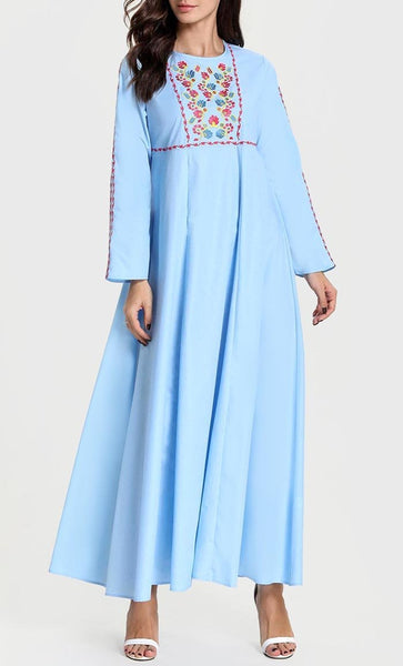 Mini Floral Embroidered Abaya - Light Blue - *Size Up* - EastEssence.com